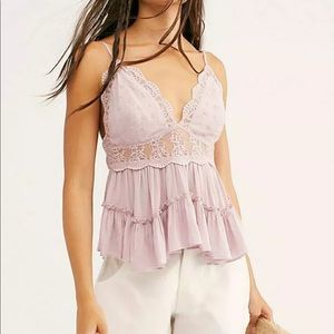 Free People Pillow Talk purple lace tier tank top